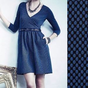 Anthro HD in Paris blue polka dot knit dress